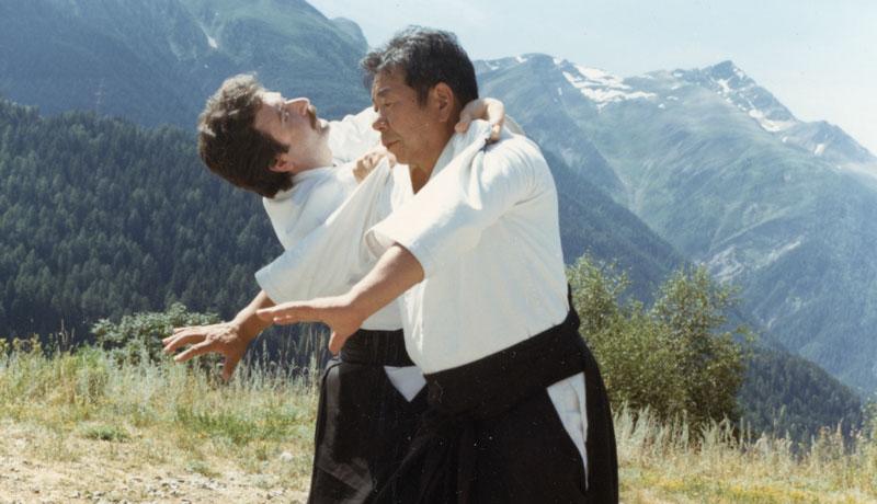 Morihiro Saito with Paolo Corallini in Swiss Alps c. 1988