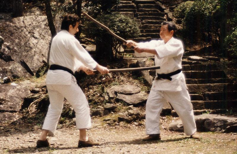Paolo Corallini and Morihiro Saito Sensei practicing the Aiki Ken in Iwama c. 1987
